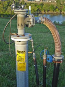 Image shows a combined leachate and landfill gas extraction well.